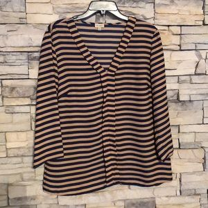 Cremieux Navy and Camal Striped Blouse